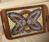 Vintage Brazil Iridescent Butterfly Wing Art Serving Tray