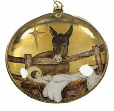 Baby Jesus Nativity Disc Ornaments Glass Gold Hanging Christmas Hanging