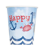 1st BIRTHDAY NAUTICAL 9oz PAPER CUPS (8) ~ First Party Supplies Beverage Drink