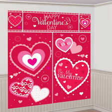 Happy Valentines Day Scene Setter Red Heart Wall Decoration Photo Prop Banner