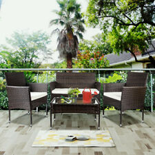 4PC Rattan Wicker Garden Patio Sofa Set Sectional Couch Cushioned Furniture