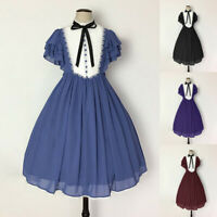 Medieval Renaissance Women Lolita Girl Short Sleeve Dress Cosplay Costume