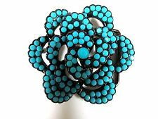 LADY'S BELT BUCKLE FAUX TURQUOISE FLOWER