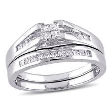 Amour 1/2 CT TW Princess Cut Quad Diamond Bridal Set in 14k White Gold