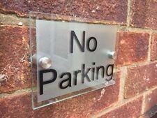 No hay aparcamiento placa de Acrílico de Cristal Moderno-sin signo de estacionamiento-Elige tu texto