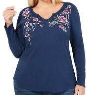 Style & Co. Womens Top Blue Size 3X Plus Floral Embroidered Waffle Knit $49 331