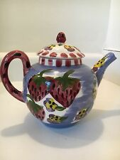 TEA POT POTTERY FRUIT STRAWBERRY/FLOWERS SIGNED MADE IN USA