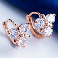 GORGEOUS ANNIVERSARY GIFT DESIGN ROSE GOLD PLATED CLEAR C.Z HOOP Earrings