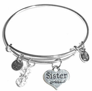 Sister, Message Charm Expandable Bangle Bracelet, Comes in a Gift Box!