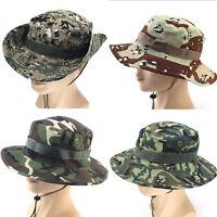 Unisex Kids Military Boonie Bucket Hats Fishing Camping Wide Brim Summer Sun Cap