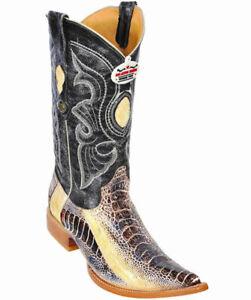 Men's Los Altos Genuine Ostrich Leg Exotic Western Cowboy Boots Pointed Toe 3X