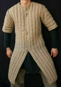 Viking Thick-camel-color-Gambeson-Medieval-Padded movie-Armor-half-sleeve lpo