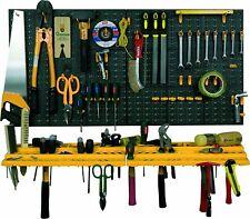Estante Panel de Pared para Herramientas - Colgadores Perforados y 2 Repisas