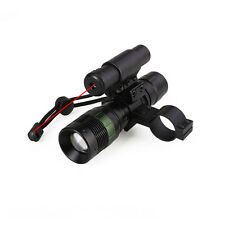 LED Flashlight Torch Light & Red Dot Point Laser Sight Scope with Mount Hunting
