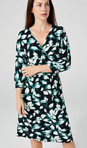 Kim & Co Printed Brazil Jersey 3/4 Dolman Sleeve Dress w/ Pockets, XL, Teal/Navy