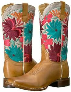 Roper Fiesta Womens Size 11 Multi-Color Leather Flower Cowboy Boots $240.