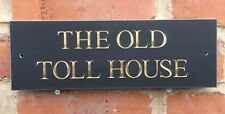 Quality Slate House Sign 300x100mm Any Name / Number GOLD LETTERING