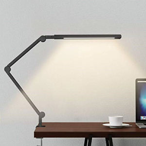 Swing Arm Lamp, LED Desk Lamp with Clamp, 9W Eye-Care Dimmable Light, Timer, 6