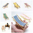 Mini Dollhouse Miniature Beach Garden Furniture Blue Stripe Folding Deck Chair
