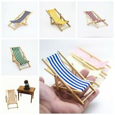 Mini Dollhouse Miniature Beach Garden Furniture Blue Stripe Folding Deck Chair