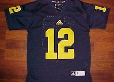 adidas NCAA Big Ten Michigan Wolverines 12 Football Boys Blue Yellow Jersey  S 38313cd3b