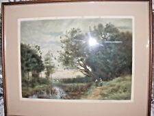 ANTIQUE MEZZOTINT ENGRAVING ETCHING AFTER COROT BY H SCOTT BRIDGWATER LARGE SIZE