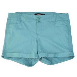 Torrid Sateen Cuffed Stretchy Mid Rise Shorts Seafoam Green Cotton Blend 18