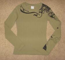 Oakley Tattoo Print Light Olive Green Long Sleeved T-Shirt Size XS