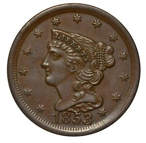 1853 Braided Hair Half Cent