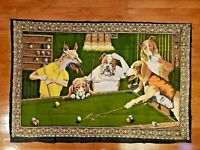 Vintage Rare Dogs Playing Pool Hanging Wall Tapestry Art Decor Bar Billiards HTF
