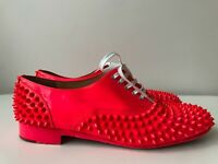 Christian Louboutin Freddy Electric Pink Neon Spiked Oxford Sz EU 40.5 US 10.5