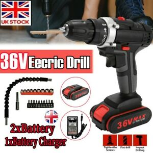 36V_Electric Cordless Impact Power Drill Screwdriver Lithium Battery Recharge