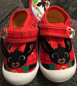 BING BUNNY OFFICIAL RED CANVAS PUMPS BOYS TRAINERS SHOES KIDS UK SIZE 4
