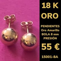 18K Pendientes Bola 8 mm Oro Amarillo 18 Kilates