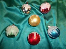 ~ 6 alte Christbaumkugeln Glas pink rot gold blau grün weiß Sand Schneedach CBS