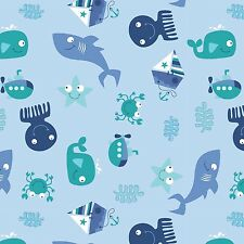 Fabric Seawater Baby Friends Having Fun Tossed on Blue Cotton 1/4 Yard