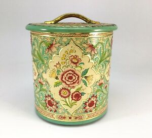 """Tin Canister Floral Embossed Teal Turquoise Kitchen Made in Holland Vtg 6 1/4"""""""