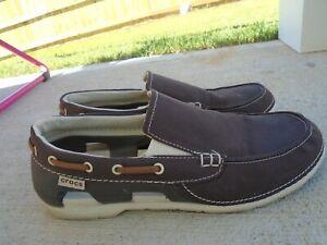 Mens Crocs brown canvas slip on casual sneakers sz 9