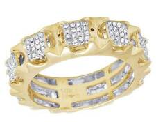 Men's 10K Yellow Gold Genuine Diamond Square Cluster Eternity Band Ring 1 CT 7MM
