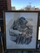 Irving Weinstein Rabbi Lithograph. signed w/ frame