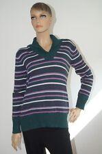 C&A Pullover Langarm Damen lila grün gestreift Größe L (1506A-2)