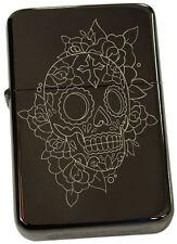 Skull Benzinfeuerzeug Feuerzeug Totenkopf  Mexican Sugar Gravur Tattoo Art