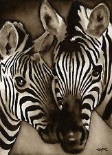 Zebra Art Print Sepia Watercolor Wildlife 11 x 14 by Artist DJR