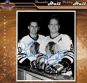 DENNIS HULL AND BOBBY HULL Autographed Chicago Blackhawks 8x10 Photo - 70353