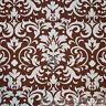 BonEful Fabric FQ Cotton Quilt VTG Brown Cream Off White Ivory Flower Damask Dot