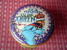 Mary Englebright Enamelled porcelain trinket Box Its Good To Be Queen 2-1/4 inch