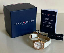 NEW! TOMMY HILFIGER ROSE GOLD DIAL WHITE LEATHER STRAP WATCH $125 1781475 SALE