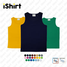 MENS SINGLET 100% POLYESTER COOL DRY BREATHABLE PLAIN COLOUR SPORTS SINGLET