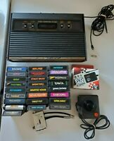 Atari 2600 Woodgrain Console - 4 Switch - 25 game bundle lot w/ controller
