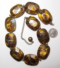 Stunning Chunky Necklace, Large Rich Shades of Brown Marbled Swirl Beads, 22""